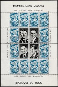 Togo Space Exploration 25F Alan B Shepard souvenir sheet MNH 1961