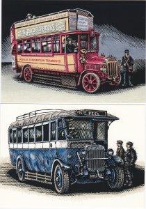 Isle of Man # 829-834, Manx Buses, Maxi Cards, Unused