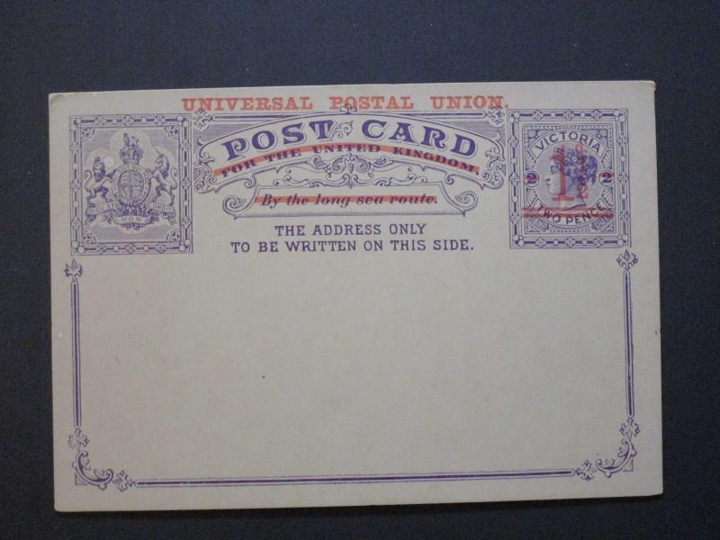 Victoria 1/2d on 2d Postal Card Unused / Light Corner Damage - Z3779