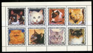 REPUBLIC EQUATORIAL GUINEA  SHEET OF 8 MNH CATS BIN $2.00