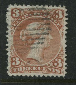 1868 Canada 3 cents red Large Queen VF used