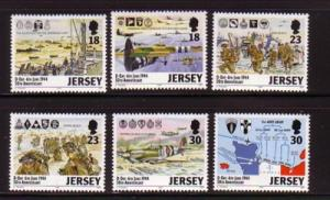 Jersey Sc 670-75 1994 D-Day Anniversary stamp set mint NH