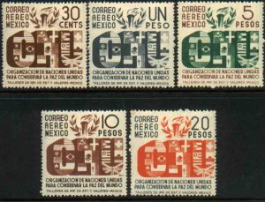 MEXICO C158-C162, Honoring the United Nations COMPLETE SET. MINT & UNUSED. F-VF.