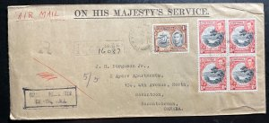 1944 Grenada On His Majesty Service Airmail cover To Saskatoon Canada