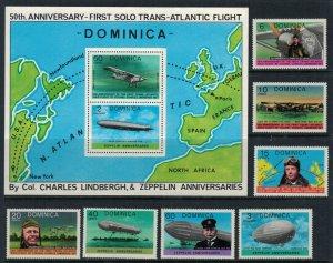 Dominica #562-9* NH  CV $6.90 Transatlantic flights set & Souvenir sheet