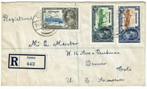 Nyasaland 1935 Zomba cancel on registered cover to the U.S., Silver Jubilee