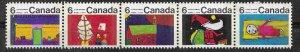 Canada # 528ap Christmas 1970 - 6c  TAGGED - Strip/5   (1) Mint NH
