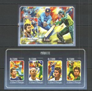ST1702 2014 S.TOME & PRINCIPE SPORT CRICKET STARS CRIQUETE KB+BL MNH STAMPS