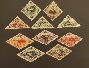 Tannu Tuva -- 10 stamps, beautiful shapes and colors, cat. value 12.05 1936