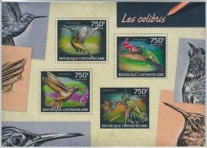 882 - CENTRAL AFRICAN R. - ERROR - MISSPERF stamp sheet 2014 BIRDS Hummingbirds