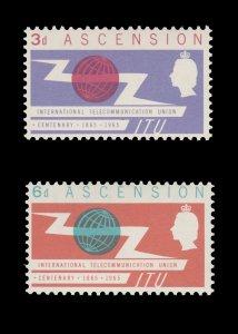 ASCENSION ISLAND 1965. SCOTT # 92 - 93. UNUSED SET.