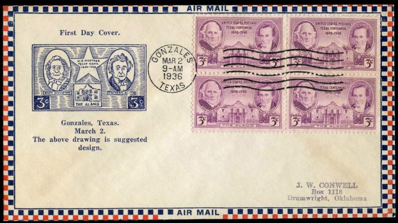#776-56c GONZALES, TEXAS FIRST DAY COVER ROESSLER CACHET BN323
