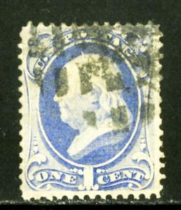 US Stamps # 134 1c Franklin XF USED Strong Grill Scott Value $200.00