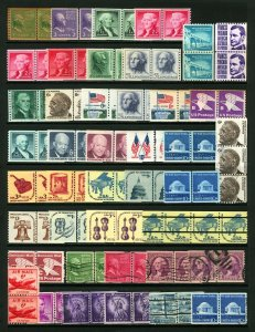 #839 - #1947, #C-41 1c-25c 1939-1981 Coil Line Pair Lot Mint Never Hinged & Used
