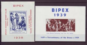 Z372 JLstamps cinderella/poster stamp 1938 & 9 bronx county stamp club ny mnh