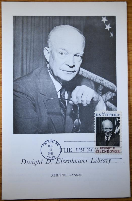 1969 Dwight D Eisenhower Stamp Large Format FDC Sc 1383 Library