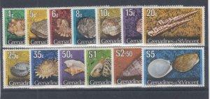 ST. VINCENT GRENADINES (MM280) # 36-50 VF-MLH VARc,$ 1974  SHELLS CAT VALUE $13