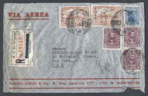 Uruguay registered cover to Usa-Montevideo 21-10-1946-backst