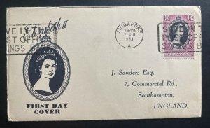 1953 Singapore Selandor first day cover  Queen Elizabeth II Coronation QE2