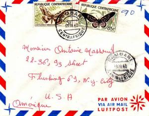 French Equatorial Africa Central African Republic 5F and 85F Butterfly 1962 B...