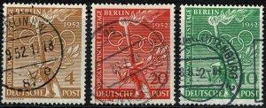 GERMANY BERLIN 1952 OLYMPIC'S GAMES USED SG B88-90 Wmk.M7 P.14 SUPERB