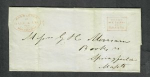 1844 Hale+Company Local Stampless Cover Philadelphia Ex: Barwis