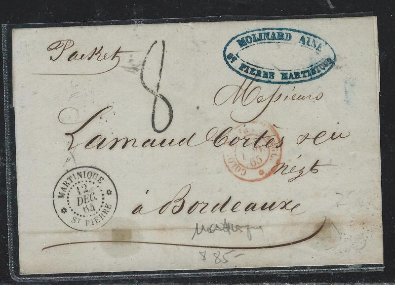 MARTINIQUE  (PP2709B) 1864 STAMPLESS ST. PIERRE MARTINIQUE TO FRANCE