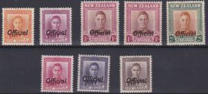 NEW ZEALAND  1947 - 51  S G 0152 - 0158  SET OF 7   MH