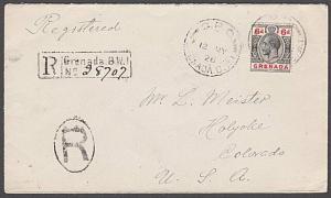 GRENADA 1926 GV 6d on registered cover to Holyoke, Colorado................54756