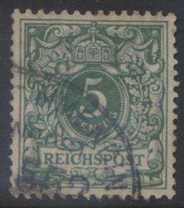GERMANY. -Scott 47 - Definitives -1889 -Used - Blue Green -Single 5pf Stamp3