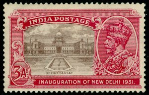 INDIA SG230, 3a chocolate & carmine, M MINT.