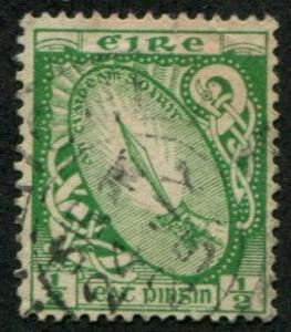 Ireland SC# 65 Sword of Light, 1/2d, Lightly cancelled