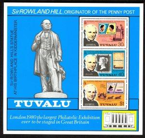 TUVALU 1979 SIR ROWLAND HILL Souvenir Sheet Sc 124a MNH