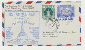 BURMA TO UK 1953, PAN AM 1st FLIGHT COVER, RANGOON LONDON, 1R25p RATE