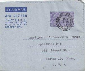 Trinidad 12c Town Hall, San Fernando Air Letter 1954 G.P.O. Port-of-Spain, Tr...