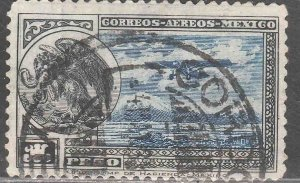 MEXICO C17, $1P Early Air Mail Plane and coat of arms USED. VF. (1217)