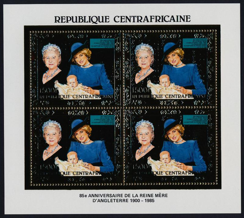 Central African Republic Gold Foil m/s MNH Queen Mother 85th Birthday