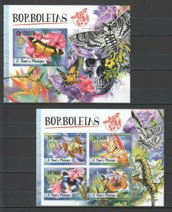 ST1799 2016 S. TOME & PRINCIPE FAUNA INSECTS BUTTERFLIES 1KB+1BL MNH STAMPS