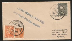 R) 1940 MEXICO, MONTERREY TO SAN ANTONIO TEXAS AIR MAIL SERVICE, MULTIPLE STAMPS