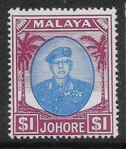 MALAYA JOHORE SG145 1949 $1 BLUE & PURPLE MTD MINT