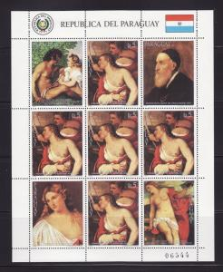 Paraguay 2163 Sheet MNH Art, Titian Paintings
