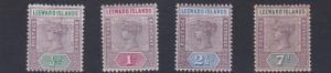 LEEWARD ISLANDS  1890  S G 1 - 6  VARIOUS VALUES TO 7D  MH  7D TONED