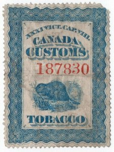 (I.B) Canada Revenue : Tobacco Customs Seal (beaver)