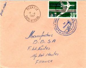 Ivory Coast 30F Air Afrique 1967 Ouekoue, Cote D'Ivoire Airmail to Nantes, Fr...