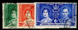KENYA UGANDA TANGANYIKA SG128-130, COMPLETE SET, FINE USED. CORONATION.