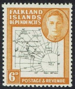 FALKLAND ISLANDS 1946 KGVI THIN MAP 6D MNH **