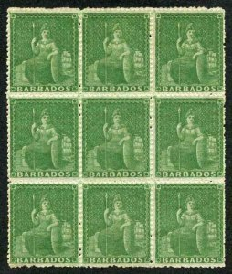 Barbados SG22 1861 (1/2d) Grass-green rough perf 14 to 16 Superb Mint Block of 9