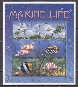 Tuvalu, Scott cat. 818 a-f. Marine Life & Birds sheet of 6. ^