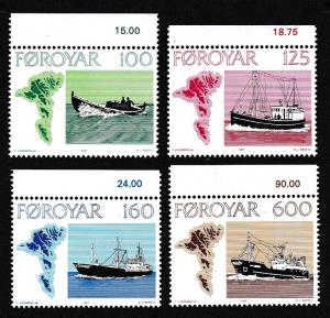 Faroe Is. Faroese Fishing Vessels 4v with top margins SG#23-26 MI#24-27 SC#24-27