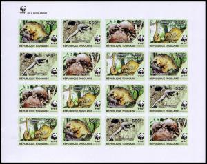Togo WWF Three-cusped Pangolin Imperf Sheetlet of 4 sets